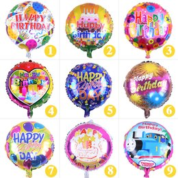 Wholesale Happy Balls - 18 inch Happy Birthday Round Air Balls Aluminum Film Balloons Party Decorations Kids Helium Balloon Party Supplies wen4648