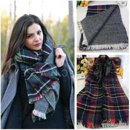 Wholesale Long Double Sided Shawl Wrap - Wholesale 2015 new women's new grid chaddar high -grade double-sided long thick scarf shawl winter autumn 3 color for choose free shipping