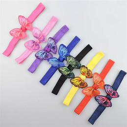 Wholesale baby girl butterfly headband - Baby Girls stretchy Hairbands hair Accessories with 3D simulation butterfly hair bows flowers headbands hair band B11