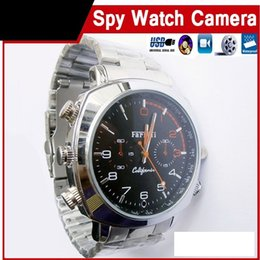 Wholesale Spy Stainless Watches - waterproof watch hidden camera 8GB 16GB 32GB HD mini DV stainless steel Wrist Watch Spy camera DVR audio video recorder dropshipping