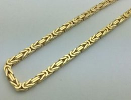 "Wholesale Gold Plated Byzantine Necklace - 4MM Men's Women 10K Gold Hollow Byzantine Link Chain Necklace 18""-24"""