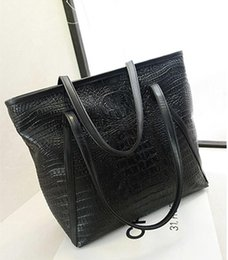Wholesale Cheap Crocodile Tote Handbags - Wholesale-2015 new minimalist luxury crocodile pattern fashion women handbag genuine bag,Women PU Leather Cheap Handbag Tote Shoulder Bags