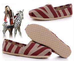 Envío gratis Dropship hechos a mano planos zapatos de lona para mujeres hombres Zebra-rayas casuales lino zapatos venta al por mayor desde fabricantes