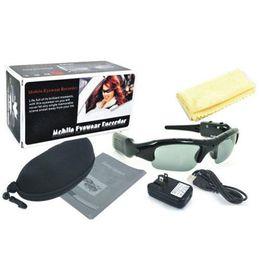 Wholesale Video Card Readers - 1pcs Sunglasses Video Camera DVR Hidden Recorder glasses DV Mobile Eyewear webcam Card reader & AC Charger mini camera 640x720