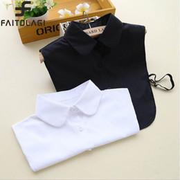 Wholesale Black Tie Neck Blouse - Wholesale- Solid color fake collar shirt blouse White & Black Vintage Detachable Collars Women Men Clothes Accessories