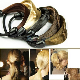 Wholesale Wig Korean - Korean Wig Hair Ponytail Holders Plaits Hair Circle Manual Twist Rubber Band Headband Headwear 069R
