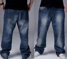 Wholesale Men Blue Jeans Size 36 - Fashion Man loose jeans hiphop skateboard jeans baggy pants denim pants hip hop men trousers 4 Seasons big size 30-46 GF072