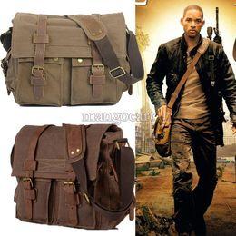Wholesale Discount Leather Messenger Bags - Big Discount!New Vintage Men's Canvas Leather Satchel School Military Shoulder Bag Messenger Bag b7 SV001142