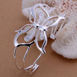 Wholesale Crystal Butterfly Bangle Bracelet - 10pcs lot hot gift factory price WHOLESALE NEW 925 STERLING SILVER Butterfly BRACELETS BANGLE JEWELRY 1294