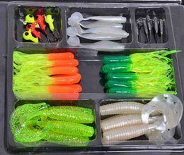Wholesale Wholesale Suites - 35Pcs Soft Worm Lure Carp Fishing Lure Set + 10 Lead Head Jig Hooks Simulation Suite Soft Fishing Baits Set Tackle Pesca