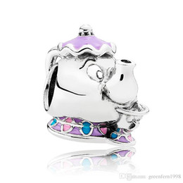 Wholesale Authentic Pandora Holiday - Authentic 925 Sterling Silver Bead Charm Cute Enamel Mrs Potts and Chip Beads Fit Pandora Bracelet Bangle DIY Jewelry