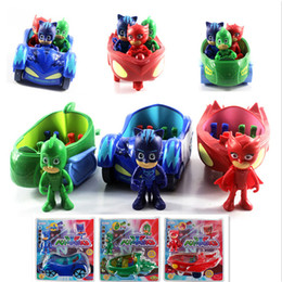 Wholesale Kids Boys Toys Cars - Retail Package 3.5inch Doll With 3 Seats Car Pj Mask Characters Catboy Gekko Cloak Action Figure freddy Toys Boy Gift Pj Mask Cartoon Model