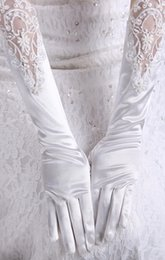 Wholesale Embroidery Garment - 2015 White Bride Bridal Gloves Accessory Full Finger Lace Applique Pearl Elbow Length Satin Bride Glove Accessory For Wedding Evening MQ