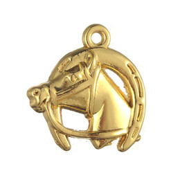 Wholesale gold horseshoe charms - Free shipping New Fashion Easy to diy 20pcs lucky horse head and horseshoe charm jewelry making fit for necklace or bracelet