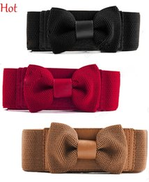 Wholesale White Buckle Jacket - Hot Selling Womens Belts Bowknot Elastic Bow Wide Stretch Buckle Waistband Fashion Black Brown Red White Waist Belt For Dresses Jacket 3713