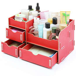 Wholesale Desktop Diy Storage Boxes Organizers - Fashion Creative Wooden DIY Cosmetic Make up Removable Collection Organizer Comestic Jewelry Desktop Storage Box With 3 Drawers EB-DJ15569