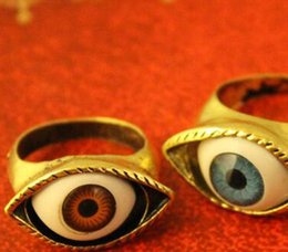 Wholesale Finger Eyes - Fashion Punk Style Vampire Devil Evil Realistic Red And Blue Eyes Styling Ring Retro Bronze Punk Evil Blue Brown Eye Finger Ring