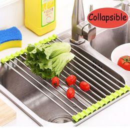 Uso doméstico Dobrável de Aço Inoxidável + Silicone Cozinha Pia De Dreno Prateleira de Frutas Rack De Lavar Vegetais Utensílio Escorredor de