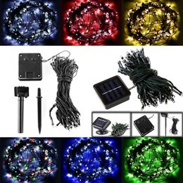 Wholesale Home Leds - Solar LED String Lights 100 LEDs 12M Decoration Fairy LED String Light For Christmas Tree birthday Party Outdoor Garden Home