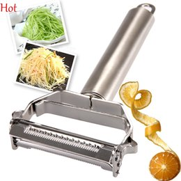 Wholesale Peeler Tool - Hot 2 in 1 Multifunctional Zesters Steel Potato Peeler Grater Slicer Cutter Vegetables Carrot Slicer Kitchen Cooking Tools Peelers SV017398