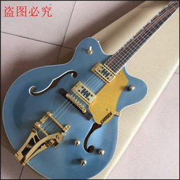 Wholesale semi hollow body guitar blue - HOT 2017 Promotion blue Guitar Musical Instruments Hollow Body Jazz With Bigs By Bridge Aaaa Grade Quilted Maple Top