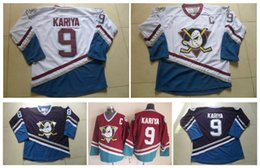 Billige hockey jerseys china online-Männer CCM Eishockey Jersey Günstige Mighty Ducks # 9 Paul Kariya Jersey Vintage Retro Genähte Logo China Anaheim Enten Trikots