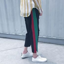 Wholesale Slit Bottom - Wholesale- 2017 new hot sale men's summer side stripes spell black color hole bottom slits design loose straight barrel nine jeans bag mail