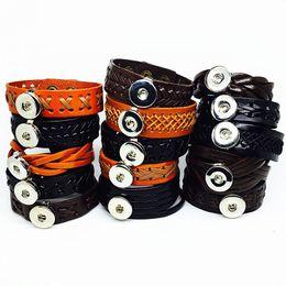 Wholesale Retro Snap - wholesale 10pcs mix styles mens womens black brown retro 18MM snaps leather cuff bracelets snap charms jewelry