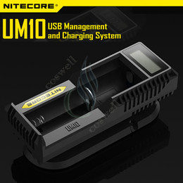 Wholesale Battery Charger Lcd Display - Original Nitecore UM10 Charger Intelligent UM 10 LCD Display for Li-ion IMR Battery 18650 18490 18350 17670 Nitecore I2 I4 D2 D4 UM20 DHL
