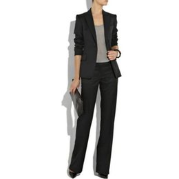 Wholesale Ladies Cotton Office Wears - Black Ladies Custom Made Women Formal Suits Work Wear Business Office Tuxedos 2 Piece (jacket + pants) made to order