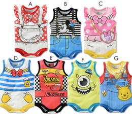 Wholesale Baby Boy Daisies - Wholesale-1pcs Lovely Summer Baby Boy Girl Bodysuits Short Sleeve Cartoon Character Winnie Daisy Mickey Minnie Mike Donald Duck Dot Suit