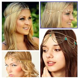 Wholesale Hair Jewelry Accesories - Beach MultiLayer Metal Gold Plated Head Chain Hair Jewelry Tassel Pearl Leaves Bindi hair accesories Boho Headband Wedding Bridal Hair XR