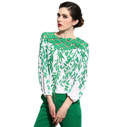 Wholesale Free Sewing Pattern - Blouses & Shirts Silk Blouse Women With Crochet Pattern Sewing Country Style Shirts Blusa Feminina HB88