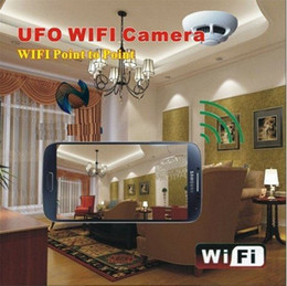 Wholesale Live Video Internet - Wireless UFO WiFi Smoke Detector Camera HD Mini Spy Smoke Detector Camera DVR for Smartphones PC internet live Video Monitoring