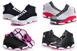 Wholesale childrens shoes for girls - Air 13 Grey Pink Black White Kids Basketball Shoes Childrens Sports Shoes 13s Sneakers Cheap youthShoes fashion trainer for boys girls