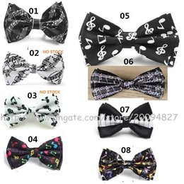 Wholesale Hot Pink Bow Ties - New hot sell music note piano keys guitar bow tie men and women party and concert bow tie cosplay accessories wholesale