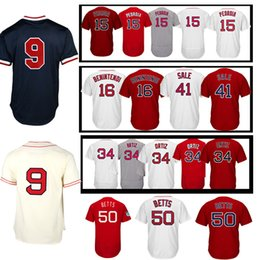 Wholesale Dustin Pedroia Jersey - 2017 men's #34 David Ortiz Jersey Jersey #50 Mookie Betts #15 Dustin Pedroia #9 Ted Williams Jerseys High-quality Baseball Jresey 100% S