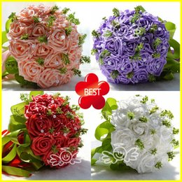 Wholesale Cheap Ribbon Decorations - Chic White Pink Purple Red Bridal Wedding Bouquets Decorations Cheap Artificial Bridesmaids Brides Holding Flower Crystal Pearl Silk Ribbon