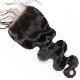 Encaje vietnamita online-Brasileño indio indio peruano vietnamita mongol cierre de encaje superior 8-18 pulgadas Cuerpo onda Color natural Cierre de cabello humano