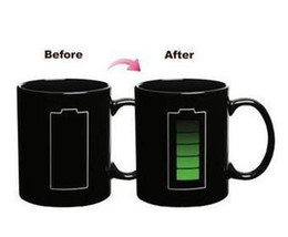 Wholesale Temperature Cup Battery - 60pcs lot FEDEX Free shipping Battery Color Changing Cup Amazing Ceramic Cup Coffee Cup Temperature Changing 1010#18