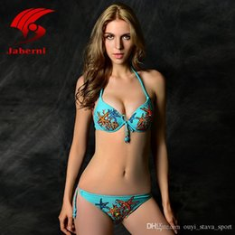 Wholesale Sexy Elegant Bikinis - 2016 Hot Sale Sexy Triangle Bikini Push Up Swimwear Women Elegant Brazilian Biquini Cute Swimsuit For Lady Print Starfish Bowknot Beachwear