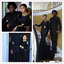 Wholesale American White Water - 2018 African Americans Vintage Long Sleeves Prom Dresses Mermaid High Neck Black with Gold Appliques Long Satin Evening Gowns Arabic