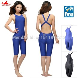 Wholesale Tight Swimming Suit - Wholesale- Yingfa FINA Approval Professional swimming women knee Swimsuit Sports Competition Tight full body Bathing Suit
