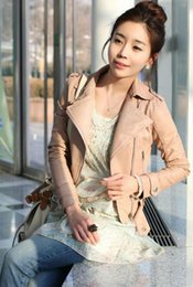 Wholesale Leather Jackets Korea - Hot Korea Fashion Women's PU Leather Jacket Stand Collar Cardigan Outwear Lady's Short Coat Motorcycle Clothing Pink Black