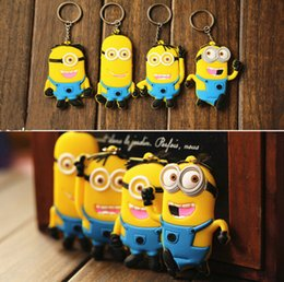 Wholesale Soft Animal Keyrings - Despicable Me 2 keychains Minions Action Figure silicone double sided pendant cartoon Keychain Keyring Key Ring Cute soft rubber key chain