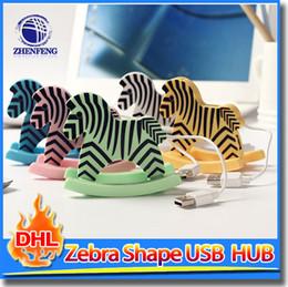 Wholesale Shaped Usb Hub - Usb Hub 4 Port USB 2.0 USB Hub Converter Adapter For Laptop PC Tabs Zebra Horse Shape Usb Hub