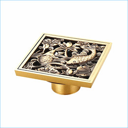 Wholesale Brass Shower Drain - European-style floor drain cover,bronze deodorization floor drain for shower,bathroom Antique Art floor drain,J14269