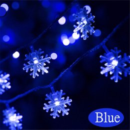Wholesale Led Snowflake Lights Blue White - Wholesale- Jiguoor 2.5M 5M LED Snowflake String Fairy Lights New Year Xmas Party Wedding Garden Light Lamp Garland Decor Christmas Lights