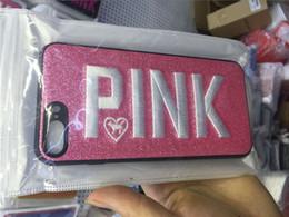 Bello telefono di progettazione online-2018 Fashion Design Glitter 3D Ricamo Love Pink Phone Case per iPhone X, iPhone 8, 7, 6 Plus nuova cover telefono caldo Bella