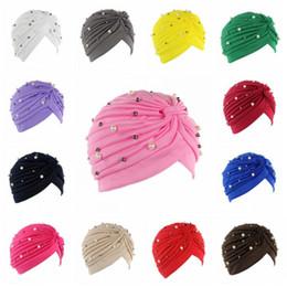 Wholesale Silk Wrap Fabric - Polyester Elastic Fabric Indian Cap Inlaid Pearls Muslim Turban Hats Stretchy Head Wrap Women Beanies Factory Direct Sale 6 5jd B